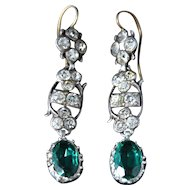 Antique Georgian Long Emerald Green & White Paste Earrings - Circa 1800