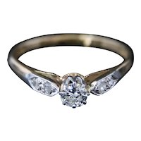 Antique Edwardian Diamond Solitaire Ring - Platinum & Gold