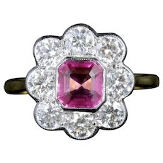 Antique Victorian Pink Sapphire Diamonds Ring 18ct Circa 1900