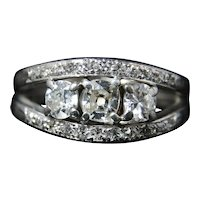 Antique Art Deco Diamond Trilogy Ring - 2ct Diamond Ring