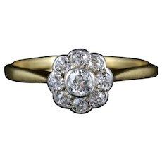 Antique Edwardian Diamond Cluster Ring 18ct Gold Circa 1910