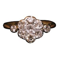 Antique Edwardian Diamond Cluster Ring 0.86ct of Diamonds