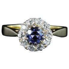 Antique Victorian Sapphire Diamond Ring 18ct Gold