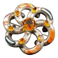 Antique Victorian Scottish Agate Large Brooch- Sterling Silver
