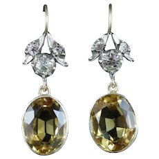 Antique Victorian Citrine & Paste Earrings - Gold/Silver