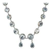 Art Deco French Paste Riviere Necklace Silver Circa 1920