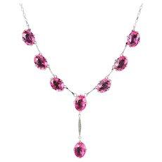 Vintage Pink Paste Lavaliere Necklace Silver