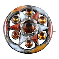 Antique Victorian Scottish Agate Silver Brooch - Large Brooch Circa 1860