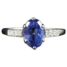 Antique Edwardian Natural Sapphire & Diamond Ring 2.71ct Sapphire