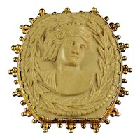 Antique Gold Cameo Volcanic Lava Brooch Buckle 18ct Gold