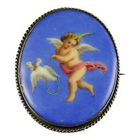 Antique Victorian Cherub Brooch Hand Painted With Doves Silver