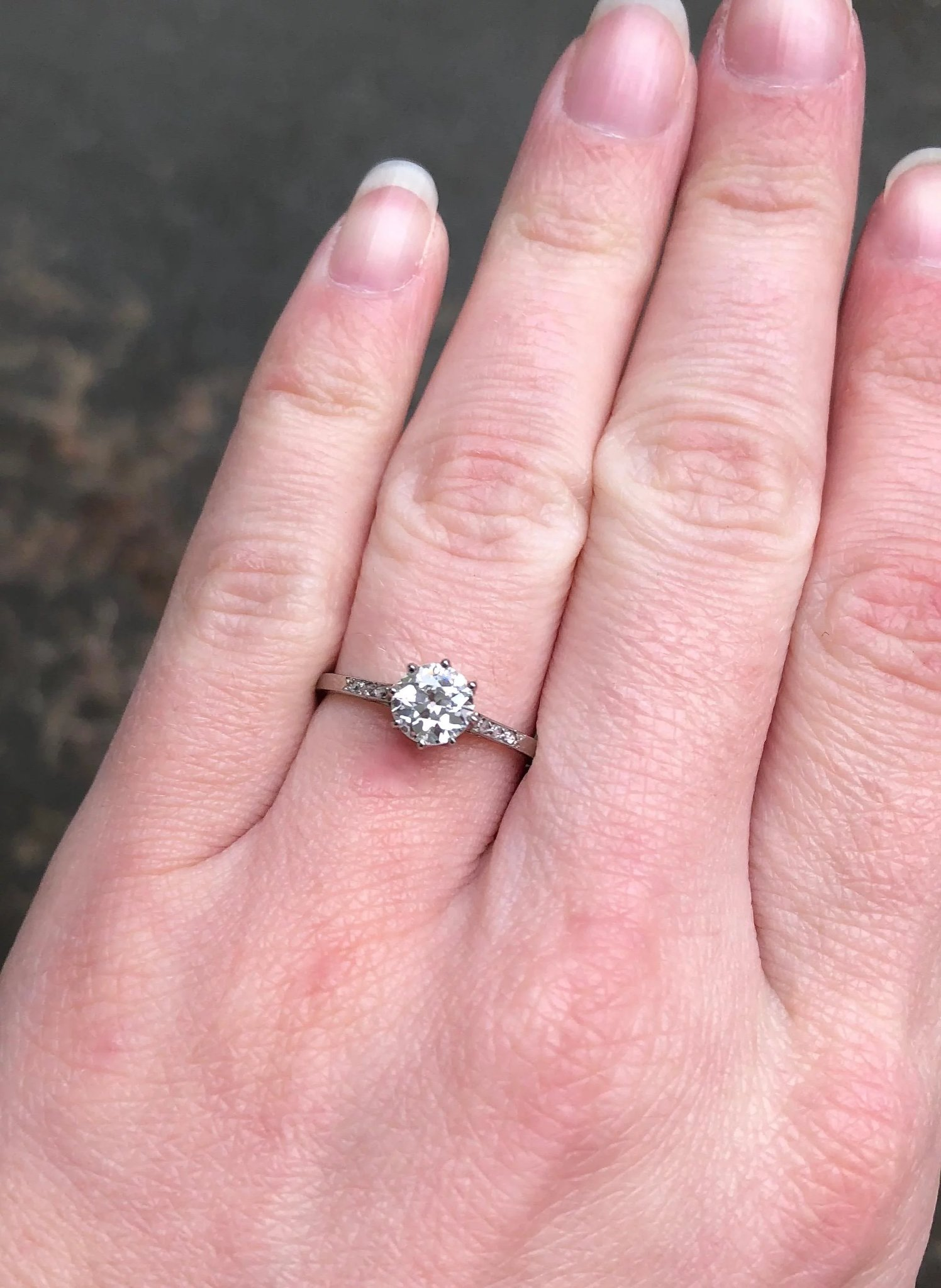 Antique French Diamond Solitaire Ring 18ct White Gold Circa 1915 ...