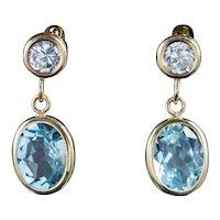 Blue Topaz Drop Earrings 9ct Gold 1.20ct Topaz