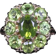 Antique Victorian Peridot Large Cluster Ring 9ct Gold