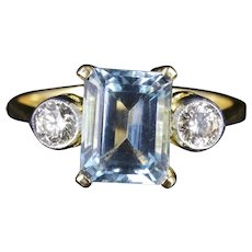 Aquamarine Diamond Trilogy Ring Emerald Cut Aquamarine Engagement Ring
