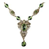 Antique Victorian Green Paste Necklace Filigree 1900