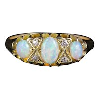 Antique Victorian Opal Diamond Ring 18ct Gold Circa 1900