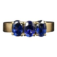 Antique Victorian Sapphire Trilogy 18ct Gold Ring 2ct Of Sapphires