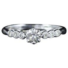 Antique Edwardian Diamond Engagement Ring 18ct White Gold Circa 1915