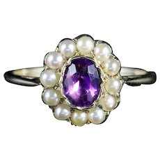 Antique Victorian Amethyst Pearl Cluster Ring 18ct Gold Circa 1900