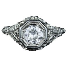 Art Deco Diamond Engagement Ring 18ct White Gold 1.10ct Diamond Solitaire