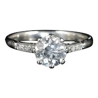 Antique Platinum Edwardian Diamond Engagement Ring 1.48ct