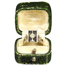 Antique Georgian Mourning Spinning Ring Boxed 18ct Gold