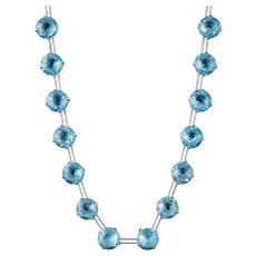 Art Deco Blue Paste Riviere Necklace Sterling Silver