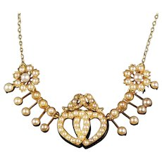 Antique Edwardian Pearl Sweetheart Necklace Circa 1905
