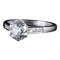 Antique Edwardian Platinum 1.58ct Solitaire Diamond Ring Circa 1915