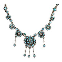 Antique Victorian Turquoise Necklace Forget Me Not Circa 1880