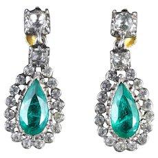 Antique Victorian Earrings Green Paste Circa 1880 Screw Backs