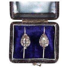 Antique Georgian Paste Earrings Boxed Circa 1800