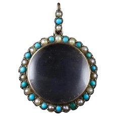 Antique Victorian Crystal Locket 9ct Gold Turquoise Pearl Frame