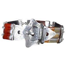 Antique Victorian Scottish Agate Bracelet Silver Buckle Clasp Circa 1860