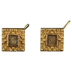 Antique Georgian Mourning 18ct Gold Earrings Circa 1800