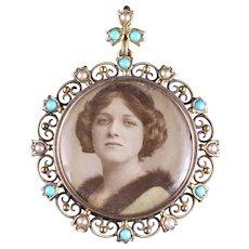 Antique Victorian Turquoise Pearl Gold Picture Pendant Locket Circa 1900