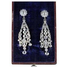 Georgian Boxed Long Paste Earrings Circa 1800