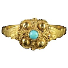 Antique Georgian Turquoise 18ct Gold Ring Circa 1730