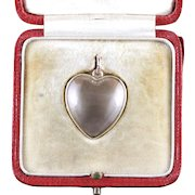 Antique Victorian Boxed Heart Locket Rock Crystal 15ct Gold