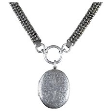 Antique Victorian Sterling Silver Locket Collar Circa 1900