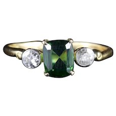 Antique Victorian Green Tourmaline Diamond Ring 18ct Gold