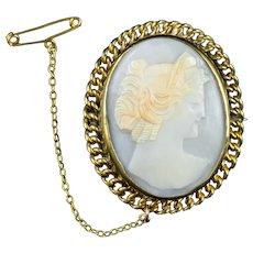 Antique Victorian Cameo Brooch 9ct Gold Gilt Circa 1860
