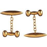 Antique Victorian Gold Bullet Dumbbell Cufflinks Chester Hallmark