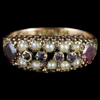 Antique Victorian Cluster Ring Garnet Pearl 15ct Gold Circa 1900