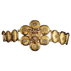 Antique Victorian Gold Diamond Lion Bracelet Circa 1860