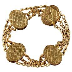 Antique French Locket Bracelet 18ct Gold Silver Victorian Circa 1860