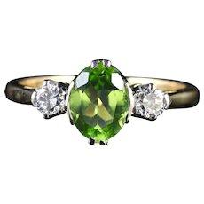 Antique Victorian Peridot Diamond Trilogy Ring Circa 1900