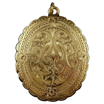 Antique Victorian Mourning Locket 18ct Gold Back and Front Circa 1840