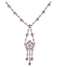 Antique Victorian Pink Paste Silver Necklace Circa 1900